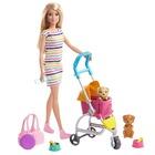 Barbie: Set de joacă Păpușă Barbie plimbă și joacă cu cățelușii