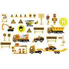 Nagy építőipari játékszett járművekkel és kiegészítőkkel