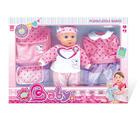 Síró baba szívecskés ruhával és kistáskával - 36 cm