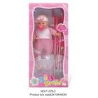 Păpușă cu cărucior de jucărie și accesorii