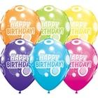 Happy Birthday feliratos, színes lufi - 6 db