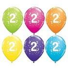 Set de 6 baloane cu model steluțe și cifra 2 - culori mixte
