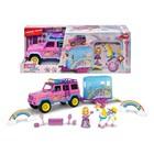 Dickie: Pink Drivez Mașinuță cu remorcă pentru unicorn și prințesă