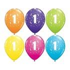 Set de 6 baloane colorate cu cifra 1 - mixt