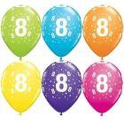 Set de 6 baloane colorate cu cifra 8 - mixt