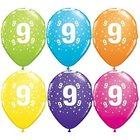 Set de 6 baloane colorate cu cifra 9 - mixt