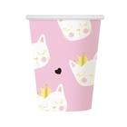 Set de 6 pahare de carton cu model pisică - 270 ml, roz-alb