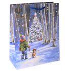 Fenyőfa az éjszakában karácsonyi tasak 26 x 32 cm