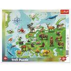 Trefl: Európa térképe állatokkal 25 darabos keretes puzzle