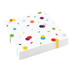 Fehér szalvéta, színes konfettivel 33 x 33 cm - 16 db