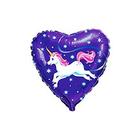 Balon folie în formă de inimioară Unicorn zburător - 46 cm