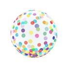 Átlátszó kristály lufi színes konfetti mintával - 46 cm