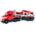 Wader: Magic Truck - camion care transportă mașină de curse F1 - roșu