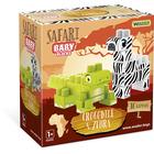 Wader: Baby Blocks Safari építőkockák - krokodil és zebra