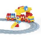 Wader: Cale ferată și blocuri de construcții pentru bebeluși - 2,24 m, 58 buc.