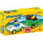 Playmobil 1.2.3.: Kisautó lószállító pótkocsival