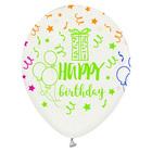 Happy Birthday feliratos fehér lufi 5 darabos szett