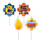 Pompierul Sam: set de 4 lumânări de petrecere