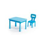 Măsuță din plastic cu scaun - albastru deschis