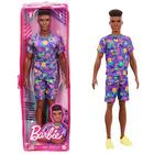 Barbie Fashionistas: Păpușă Ken în pijama mov într-un suport cu fermoar