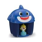 Clemmy: Baby Shark cuburi de construcții și figurină în coș rechin - albastru