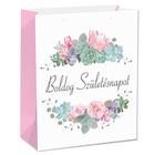 Boldog születésnapot ajándéktasak kék-rózsaszín virágokkal - 26 x 32 cm