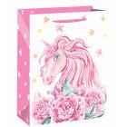 Rózsaszín egyszarvú ajándéktasak - 26 x 32 cm