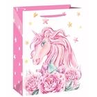 Rózsaszín egyszarvú ajándéktasak - 18 x 23 cm