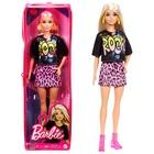 Barbie Fashionista barátnők: Rocker Barbie párducmintás szoknyában cipzáras tartóban