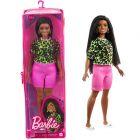Barbie Fashionistas: Barna bőrű molett Barbie zöld felsőben cipzáras tartóban