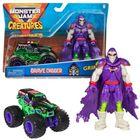 Monster Jam: Mașinuță Grave Digger cu figurină Grim