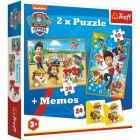 Paw Patrol: puzzle și joc de memorie 2-în-1