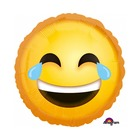 Nevető emoji fej fólia lufi, 43 cm