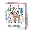 Be Free pungă cadou cu model cerb - 11 x 6 x 14 cm