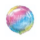 Szivárvány színű Happy Birthday feliratú fólia lufi - 45 cm