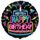Fekete alapon neon Happy Birthday feliratú fólia lufi - 45 cm