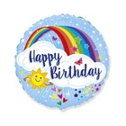 Balon folie cu model curcubeu și inscripție Happy Birthday - 45 cm