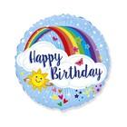 Happy Birthday szivárványos égbolt fólia lufi - 45 cm