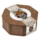 Róka formájú, 141 db-os fa puzzle, különleges elemekkel
