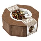 Leu puzzle siluetă din lemn, cu piese speciale - 100 de piese