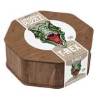 T-rex formájú, 129 db-os fa puzzle különleges elemekkel
