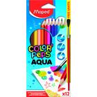 MAPED: Color Peps Aqua akvarell színes ceruza készlet ecsettel - háromszögletű, 12 db