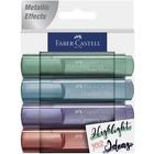 Faber-Castell: Metál színű szövegkiemelő készlet, 1546, 4 db-os