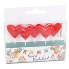Szív formájú, piros születésnapi gyertya szett, 5 darabos