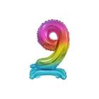 Beauty & Charm számos fólia lufi, 9-es szám, szivárványszínű - 38 cm