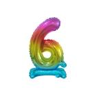 Beauty & Charm Balon folie în culorile curcubeului - cifra 6 de 38 cm