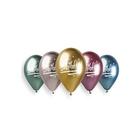 Set de 5 baloane în culori cromate cu inscripție Happy Birthday! - 33 cm