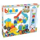 Bloko: blocuri de construcție cu țepi, cu roți și 3 figurine - 50 buc.