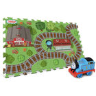 Covoraș de joacă moale din piese detașabile, cu model cale ferată și 1 locomotivă Thomas - - 45 x 76 cm