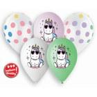 Pachet de baloane premium cu model buline și unicorni, 33 cm - 5 buc.